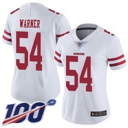 Limited Women's Fred Warner White Road Jersey - #54 Football San Francisco 49ers 100th Season Vapor Untouchable