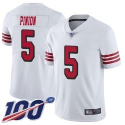 Limited Men's Bradley Pinion White Jersey - #5 Football San Francisco 49ers 100th Season Rush Vapor Untouchable