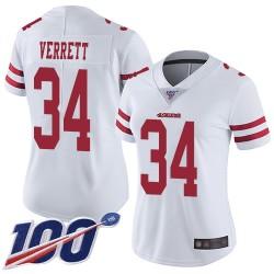 Limited Women's Jason Verrett White Road Jersey - #34 Football San Francisco 49ers 100th Season Vapor Untouchable