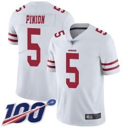 Limited Men's Bradley Pinion White Road Jersey - #5 Football San Francisco 49ers 100th Season Vapor Untouchable