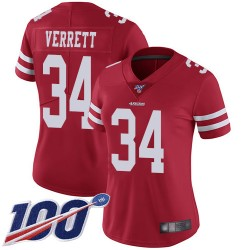 Limited Women's Jason Verrett Red Home Jersey - #34 Football San Francisco 49ers 100th Season Vapor Untouchable