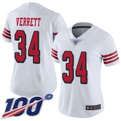 Limited Women's Jason Verrett White Jersey - #34 Football San Francisco 49ers 100th Season Rush Vapor Untouchable