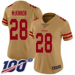 Limited Women's Jerick McKinnon Gold Jersey - #28 Football San Francisco 49ers 100th Season Inverted Legend