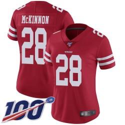 Limited Women's Jerick McKinnon Red Home Jersey - #28 Football San Francisco 49ers 100th Season Vapor Untouchable