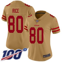 Limited Women's Jerry Rice Gold Jersey - #80 Football San Francisco 49ers 100th Season Inverted Legend