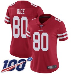 Limited Women's Jerry Rice Red Home Jersey - #80 Football San Francisco 49ers 100th Season Vapor Untouchable