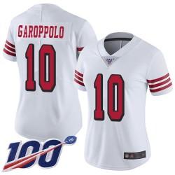 Limited Women's Jimmy Garoppolo White Jersey - #10 Football San Francisco 49ers 100th Season Rush Vapor Untouchable
