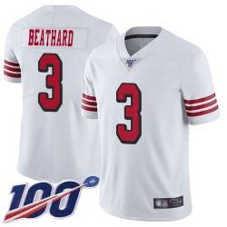 Limited Men's C. J. Beathard White Jersey - #3 Football San Francisco 49ers 100th Season Rush Vapor Untouchable