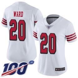 Limited Women's Jimmie Ward White Jersey - #20 Football San Francisco 49ers 100th Season Rush Vapor Untouchable