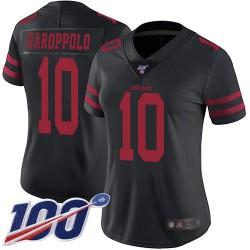 Limited Women's Jimmy Garoppolo Black Alternate Jersey - #10 Football San Francisco 49ers 100th Season Vapor Untouchable