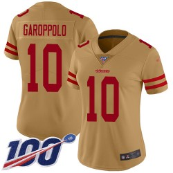 Limited Women's Jimmy Garoppolo Gold Jersey - #10 Football San Francisco 49ers 100th Season Inverted Legend