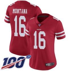 Limited Women's Joe Montana Red Home Jersey - #16 Football San Francisco 49ers 100th Season Vapor Untouchable