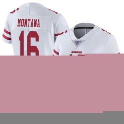 Limited Women's Joe Montana White Road Jersey - #16 Football San Francisco 49ers 100th Season Vapor Untouchable