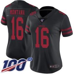 Limited Women's Joe Montana Black Alternate Jersey - #16 Football San Francisco 49ers 100th Season Vapor Untouchable