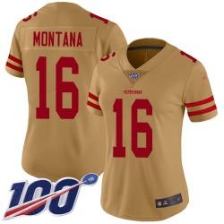 Limited Women's Joe Montana Gold Jersey - #16 Football San Francisco 49ers 100th Season Inverted Legend