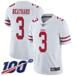 Limited Men's C. J. Beathard White Road Jersey - #3 Football San Francisco 49ers 100th Season Vapor Untouchable