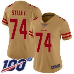 Limited Women's Joe Staley Gold Jersey - #74 Football San Francisco 49ers 100th Season Inverted Legend