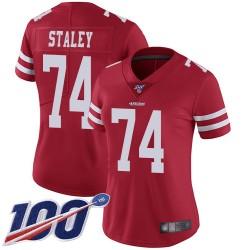 Limited Women's Joe Staley Red Home Jersey - #74 Football San Francisco 49ers 100th Season Vapor Untouchable