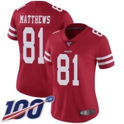 Limited Women's Jordan Matthews Red Home Jersey - #81 Football San Francisco 49ers 100th Season Vapor Untouchable