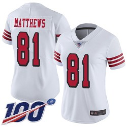 Limited Women's Jordan Matthews White Jersey - #81 Football San Francisco 49ers 100th Season Rush Vapor Untouchable