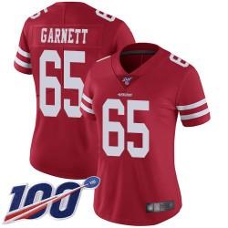 Limited Women's Joshua Garnett Red Home Jersey - #65 Football San Francisco 49ers 100th Season Vapor Untouchable