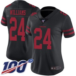 Limited Women's K'Waun Williams Black Alternate Jersey - #24 Football San Francisco 49ers 100th Season Vapor Untouchable