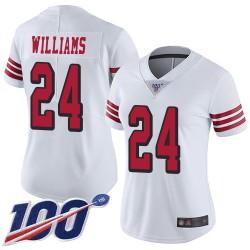 Limited Women's K'Waun Williams White Jersey - #24 Football San Francisco 49ers 100th Season Rush Vapor Untouchable