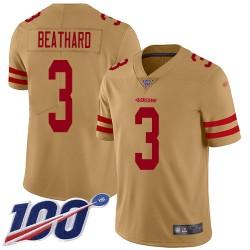 Limited Men's C. J. Beathard Gold Jersey - #3 Football San Francisco 49ers 100th Season Inverted Legend