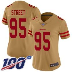 Limited Women's Kentavius Street Gold Jersey - #95 Football San Francisco 49ers 100th Season Inverted Legend