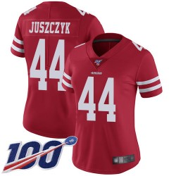 Limited Women's Kyle Juszczyk Red Home Jersey - #44 Football San Francisco 49ers 100th Season Vapor Untouchable