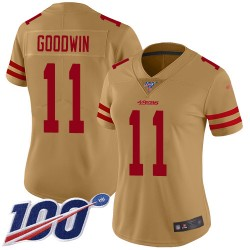 Limited Women's Marquise Goodwin Gold Jersey - #11 Football San Francisco 49ers 100th Season Inverted Legend