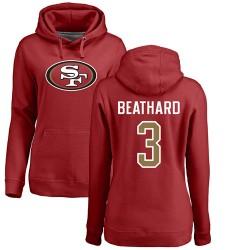 Women's C. J. Beathard Red Name & Number Logo - #3 Football San Francisco 49ers Pullover Hoodie