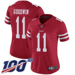 Limited Women's Marquise Goodwin Red Home Jersey - #11 Football San Francisco 49ers 100th Season Vapor Untouchable