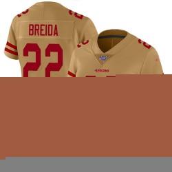 Limited Women's Matt Breida Gold Jersey - #22 Football San Francisco 49ers 100th Season Inverted Legend