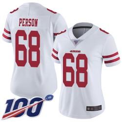 Limited Women's Mike Person White Road Jersey - #68 Football San Francisco 49ers 100th Season Vapor Untouchable