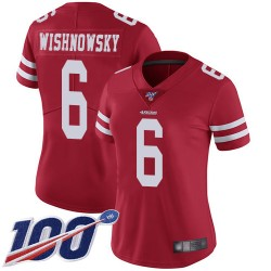 Limited Women's Mitch Wishnowsky Red Home Jersey - #6 Football San Francisco 49ers 100th Season Vapor Untouchable