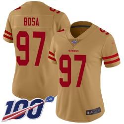 Limited Women's Nick Bosa Gold Jersey - #97 Football San Francisco 49ers 100th Season Inverted Legend