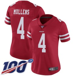 Limited Women's Nick Mullens Red Home Jersey - #4 Football San Francisco 49ers 100th Season Vapor Untouchable