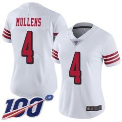 Limited Women's Nick Mullens White Jersey - #4 Football San Francisco 49ers 100th Season Rush Vapor Untouchable