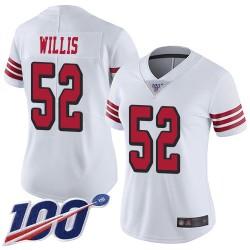 Limited Women's Patrick Willis White Jersey - #52 Football San Francisco 49ers 100th Season Rush Vapor Untouchable