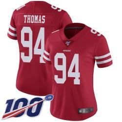 Limited Women's Solomon Thomas Red Home Jersey - #94 Football San Francisco 49ers 100th Season Vapor Untouchable