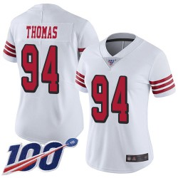 Limited Women's Solomon Thomas White Jersey - #94 Football San Francisco 49ers 100th Season Rush Vapor Untouchable