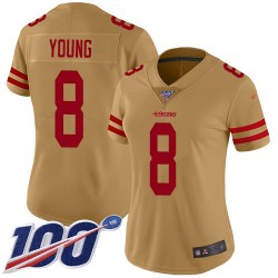 Limited Women's Steve Young Gold Jersey - #8 Football San Francisco 49ers 100th Season Inverted Legend