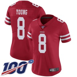 Limited Women's Steve Young Red Home Jersey - #8 Football San Francisco 49ers 100th Season Vapor Untouchable