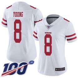 Limited Women's Steve Young White Road Jersey - #8 Football San Francisco 49ers 100th Season Vapor Untouchable