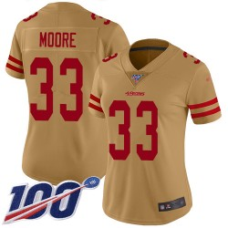 Limited Women's Tarvarius Moore Gold Jersey - #33 Football San Francisco 49ers 100th Season Inverted Legend