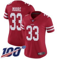 Limited Women's Tarvarius Moore Red Home Jersey - #33 Football San Francisco 49ers 100th Season Vapor Untouchable