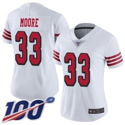 Limited Women's Tarvarius Moore White Jersey - #33 Football San Francisco 49ers 100th Season Rush Vapor Untouchable