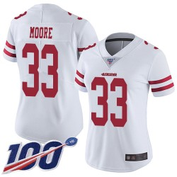 Limited Women's Tarvarius Moore White Road Jersey - #33 Football San Francisco 49ers 100th Season Vapor Untouchable