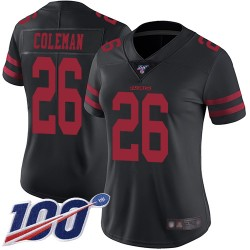 Limited Women's Tevin Coleman Black Alternate Jersey - #26 Football San Francisco 49ers 100th Season Vapor Untouchable
